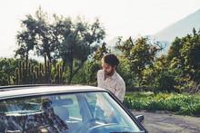 Mid Adult Man By Mercedes-Benz Car