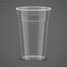 Empty Transparent Plastic Takeaway Cup Isolated On Transparency Grid Background, 3d Vector Illustration.