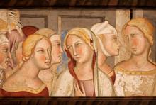 Female Heads On 14th Century Fresco Inside Historical Palazzo Del Podesta