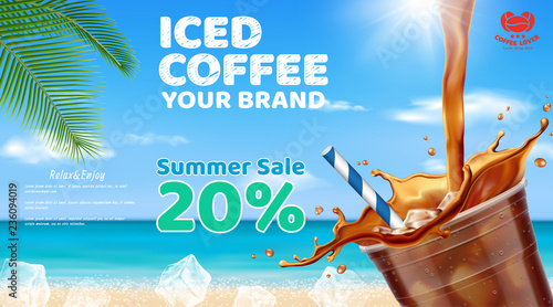 Fotografia Iced coffee pouring into takeaway cup placed on wooden table with ice cubes, coffee beans ,coconut leaf set for summer beach background