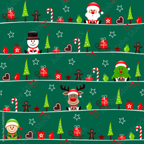 Xmas Cartoons Symbols Seamless Pattern Green