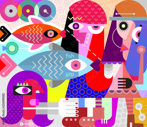 Women and Fish vector illustration
