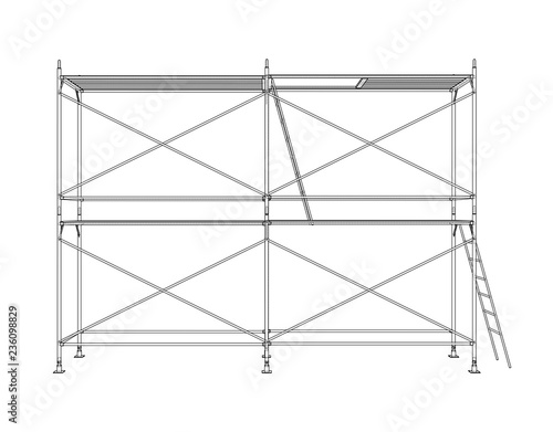 Carta da parati 3D outline scaffold. Vector rendering of 3d