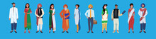 Indian Woman Man Standing Together National Traditional Clothes Male Female People Group Cartoon Character Collection Full Length Horizontal Banner Flat