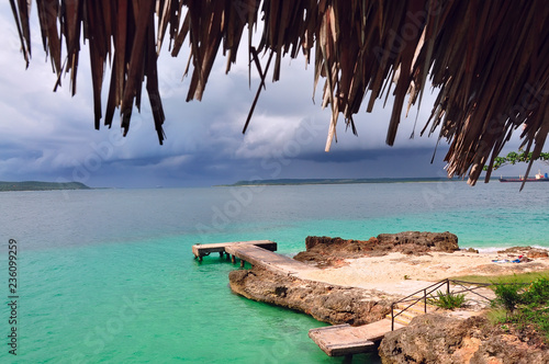 coast island in the caribbean sea near cuba. beautiful azure ocean