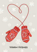 Vintage Mittens With Warm Wishes Inscription