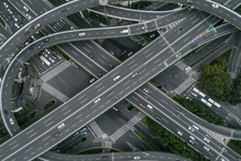 Aerial View Of Highway And Overpass