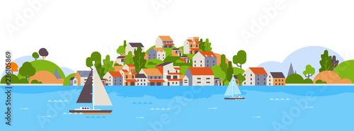 boats over beach seaside island houses hotels background sea yacht coast summer Wallpaper Mural