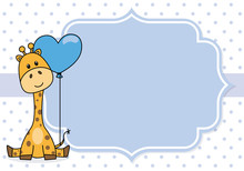 Baby Boy Shower Card.Giraffe With A Nightcap. Space For Text