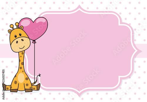 Fototapeta premium baby shower card. żyrafa z szlafmycą. Miejsce na tekst