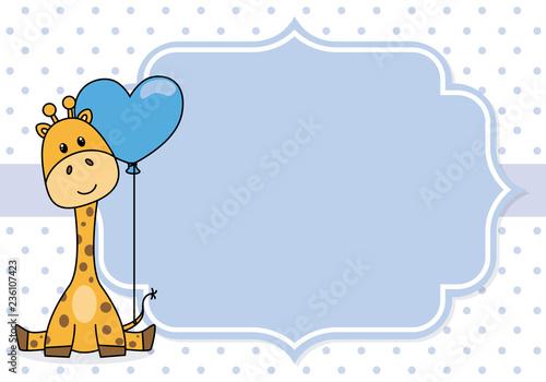 Fototapeta premium baby boy shower card. żyrafa z szlafmycą. Miejsce na tekst