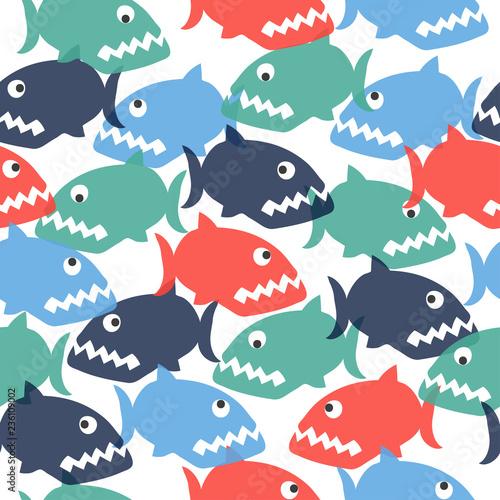 Fototapeta Seamless colorful cartoon piranha pattern