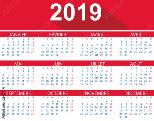Calendario Frances.Calendario 2019 En Frances Con Fiestas De Francia Flat