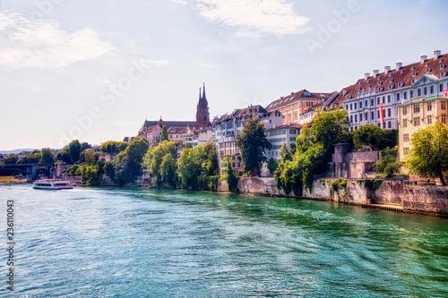 Plakat Rzeka Ren i zabytkowe centrum Bazylei