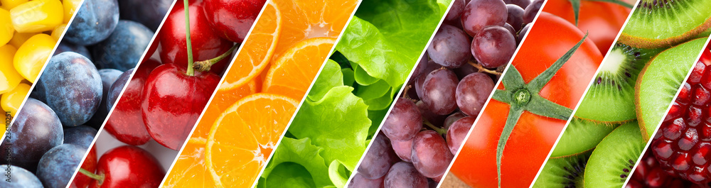 Fototapety, obrazy: Background of mixed fruits and vegetables