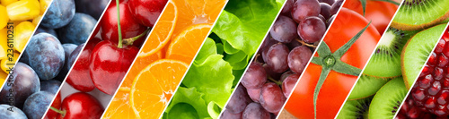 Poster de jardin Cuisine Background of mixed fruits and vegetables