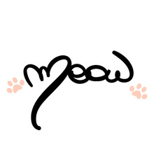 Cute Vector Hand Drawn Lettering Meow With Pink Cat Paw Print