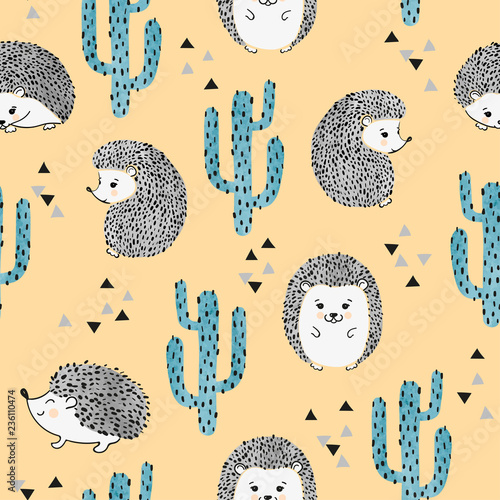Fotografija Seamless vector childish pattern with cute watercolor hedgehog and cactus