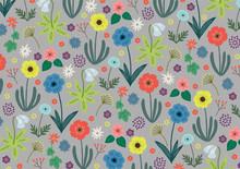 花いろいろ背景グレー