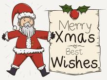 Cute Santa Holding A Greeting Christmas Scroll, Vector Illustration