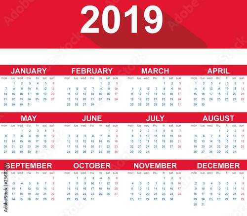 Calendario Vectorizado.Calendario 2019 En Ingles Flat Design Buy This Stock
