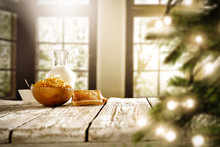 Christmas Breakfast Time With Blurred Background Of Window And Christmas Tree.