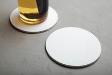 White Round Beer Coaster. Roun...