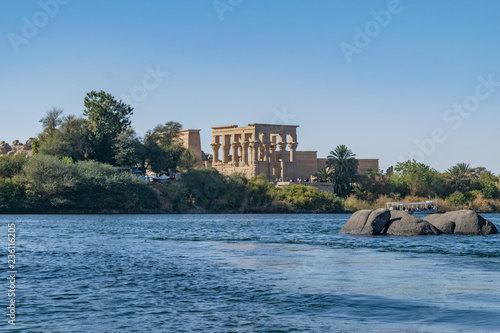 Wall Murals Place of worship Philae temple and island in the reservoir of the Aswan Low Dam, downstream of the Aswan Dam and Lake Nasser, Egypt.