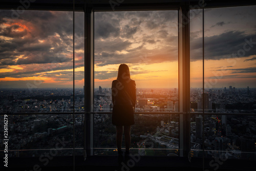 Photo Rear view of Traveler woman looking Tokyo Skyline and view of skyscrapers on the observation deck at sunset in Japan
