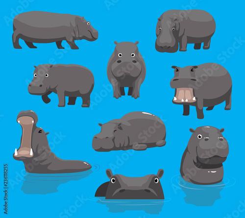 Hippopotamus Yawning Cute Cartoon Vector Illustration Tableau sur Toile