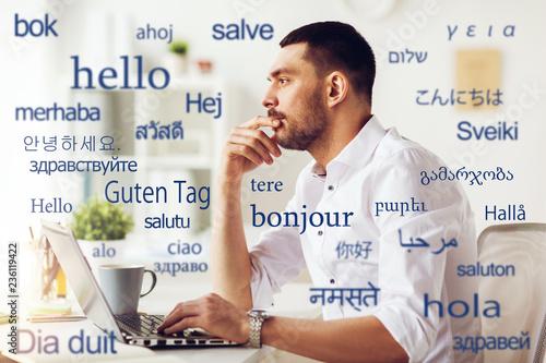 Fotografía  translation, business, and technology concept - male translator or businessman w