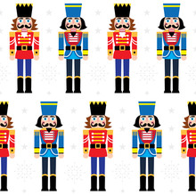 Christmas Nutcracker Vector Seamless Pattern - Soldier Figurine Repetitive Ornament With Snowflakes On White Background