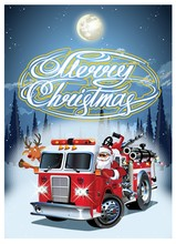 Cartoon Retro Christmas Poster With Firetruck And Santa Claus