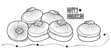 Vector Greeting Card With Outline Traditional Hanukkah Sufganiyah Or Sufganiyot Or Doughnut In Black Isolated On White Background. Contour Jelly Donut For Jewish Hanuka Design Or Coloring Book.