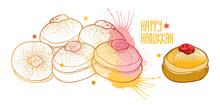 Vector Greeting Card With Outline Traditional Symbol Hanukkah Sufganiyah Or Sufganiyot Or Doughnut In Pastel Beige And Pink Isolated On White Background. Contour Jelly Donut For Jewish Hanuka Design.