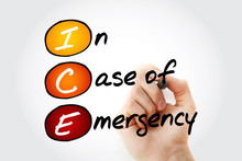ICE - In Case Of Emergency, Acronym Health Concept Background.