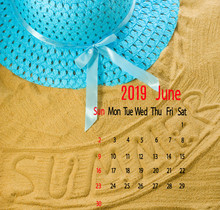 Image Of Calendar For 2019 On Beach Background