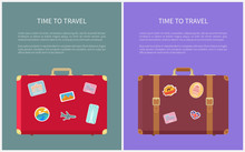 Time To Travel Poster With Luggages Set Vector