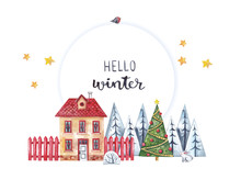 Watercolor Illustration With Round Frame, Winter House And Garden On White Background.