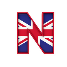 Letter N Union Jack Font, Great Britain Flag Lettering. 3D Rendering