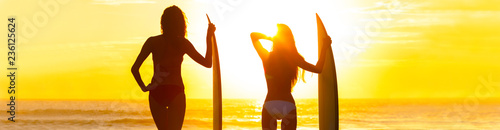 Panorama Bikini Surfer Women Girls Surfboards Sunset Beach
