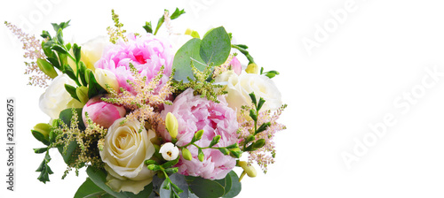 Photo Composition with bouquet of freshly cut flowers