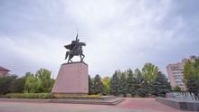 Monument To Chapaev In Uralsk Timelapse Hyperlapse.