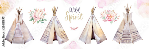 Photo Watercolor colorful ethnic set of teepee and flowers bouquets in native American style
