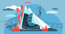 Skiing Vector Illustration. Fl...