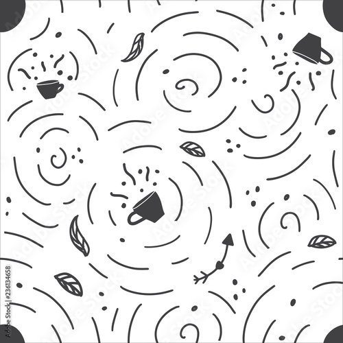 obraz dibond Seamless pattern with handdrawn coffee and tea cup. Doodle monochrome vector illustration.