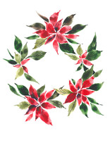 Christmas Wreath. Decorative Bouquet Of Red Flowers. Poinsettia. Watercolor Background.