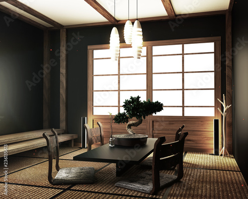 interior design,modern living room with table katana sword lamp and ...