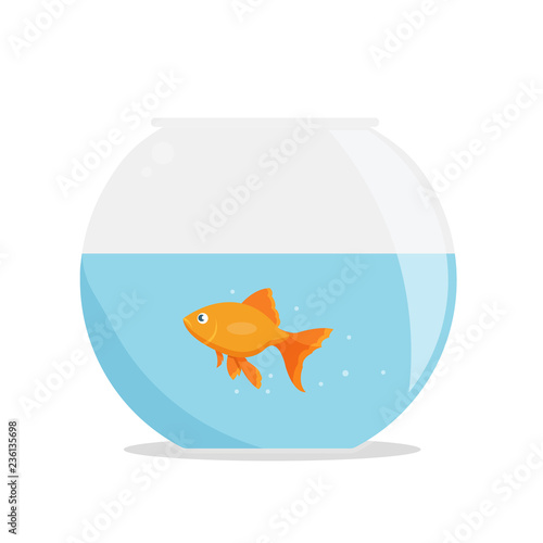 Goldfish in fishbowl isolated on whute background Wallpaper Mural