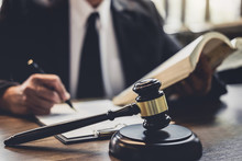 Judge Gavel With Justice Lawyers, Lawyer Or Judge Counselor Working With Agreement Contract In Courtroom, Justice And Law Concept